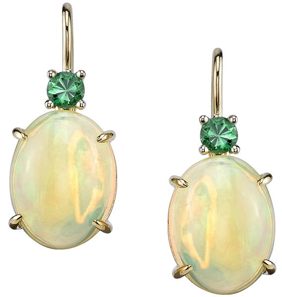 Attractive 18kt Yellow Gold Faceted Oval Opal& Tsavorite Garnet Handmade Earrings