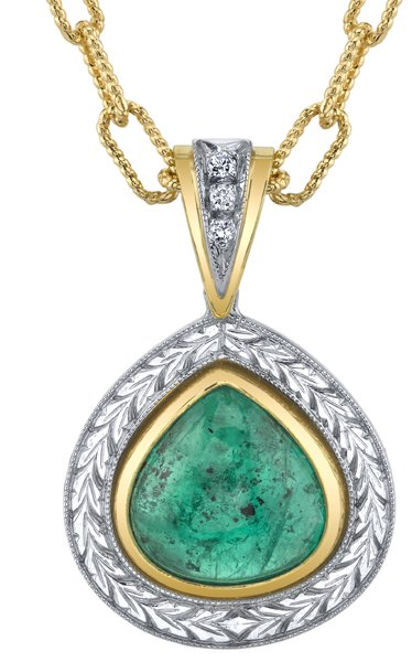 Attractive 5.24 Pear Shape Cabochon Emerald Gemstone Pendant With .04ctw Diamond Accents - Ornate 2-Tone 18kt Gold Detailing