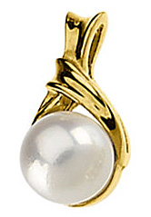 Attractive Akoya Cultured Pearl Pendant in 14 karat Yellow Gold with FREE Gold Chain