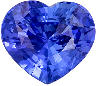 Attractive Blue Sapphire Loose Gem, Heart Cut, Vivid Rich Blue, 8 x 7.2 mm, 2.06 carats
