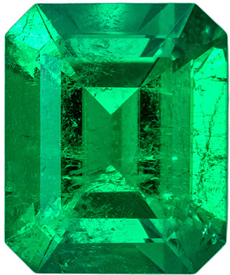 Xtra Fine Emerald Clean Rich Green Color Gemstone in Emerald Cut, 0.86 carats , 6.6 x 5.5 mm