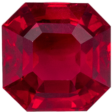 Attractive  No Heat Ruby Emerald Cut Genuine Gem, Medium Red, 5.51 x 5.49 x 3.48 mm, 1.07 carats GIA Certified