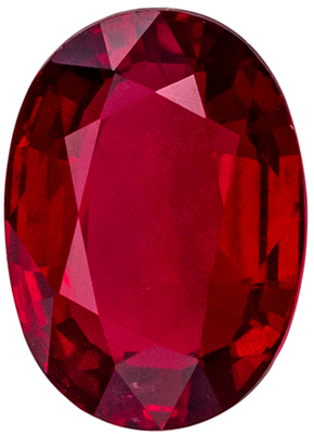 Attractive Ruby Genuine Gemstone, 7.3 x 5.2 mm, Open Rich Red, Oval Cut, 1.32 carats