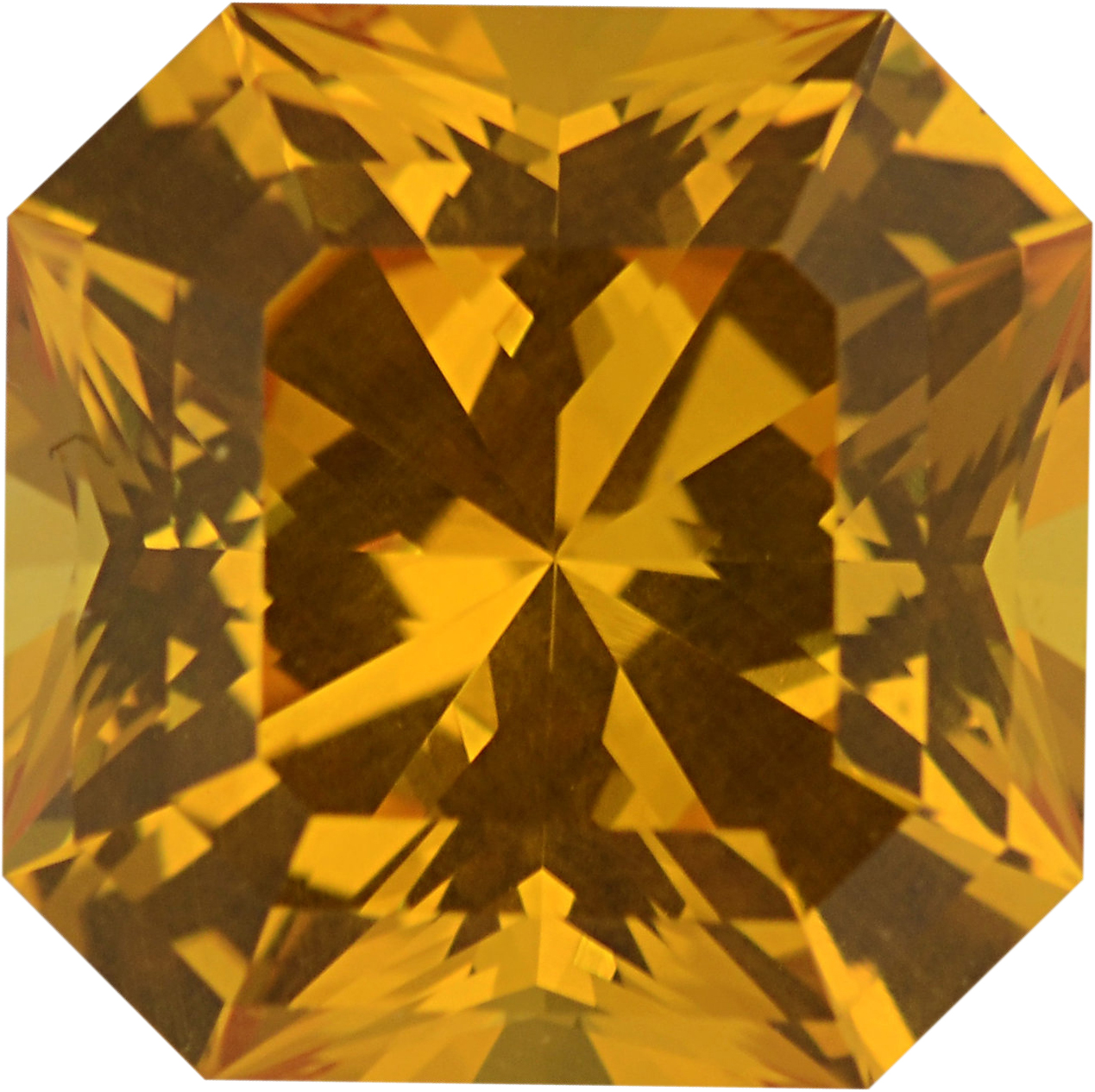 Attractive Sapphire Loose Gem in Asscher Cut, Vivid Orangy Yellow, 7.52 x 7.50  mm, 2.42 Carats