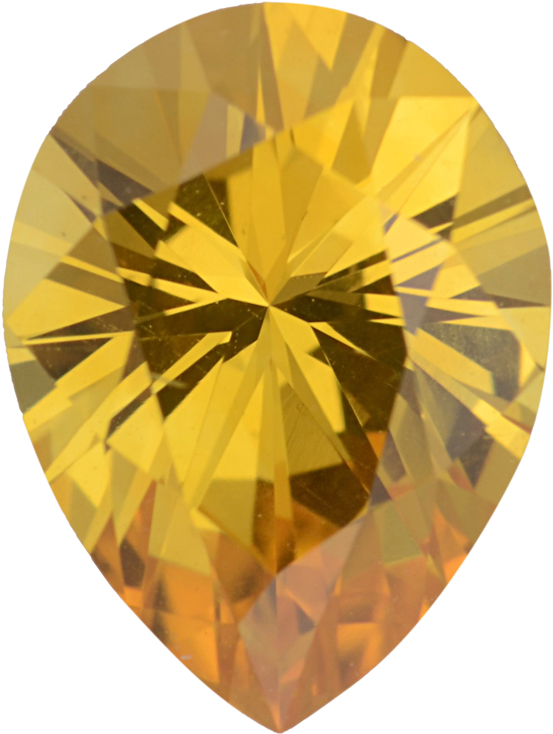Attractive Sapphire Loose Gem in Pear Cut, Light Orangy Yellow, 8.01 x 6.02  mm, 1.15 Carats