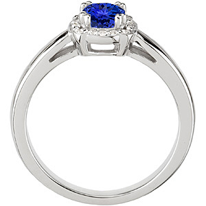 Attractive Superb Gem Quality .8ct 5.8mm Tanzanite Round Cut set in White Gold Diamond Mounting for SALE