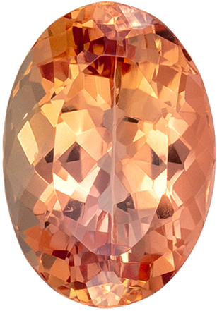 Loose Imperial Topaz Ring Stone Gem in a Medium Sherry Peach Color in Oval Cut, 9.6 x 6.7 mm, 2.43 carats