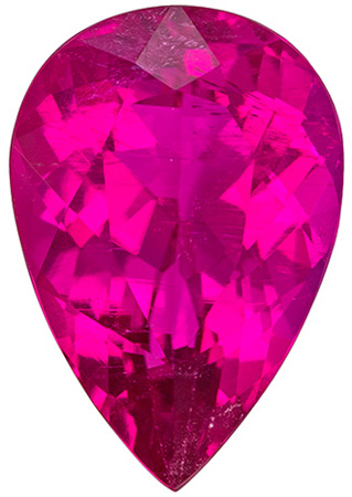 Stunning Loose Intense Rubellite Tourmaline Gemstone in an Intense Fuchsia Color in Pear Cut, 13 x 8.9 mm, 4.02 carats