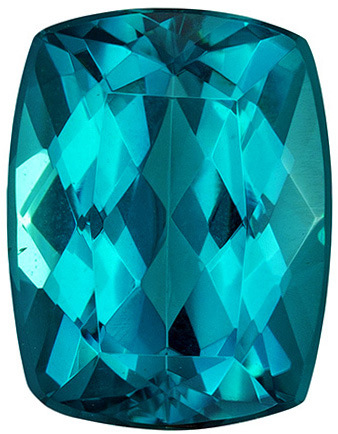 Blue Teal Tourmaline Loose Gem Ring Stone in Open Teal Blue Color in a Cushion Cut, 9.3 x 7.2 mm, 2.65 carats