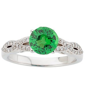 Attractive Twisted Shank White Gold Ring set with Intense Genuine 1ct 6mm Tsavorite Gem and Diamonds