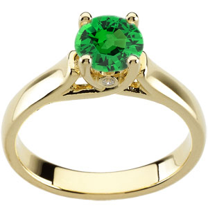 Attractive Woven Prong 1 carat GEM 6mm Tsavorite Garnet Solitaire Engagement Ring - Bezel Set Diamond Accents