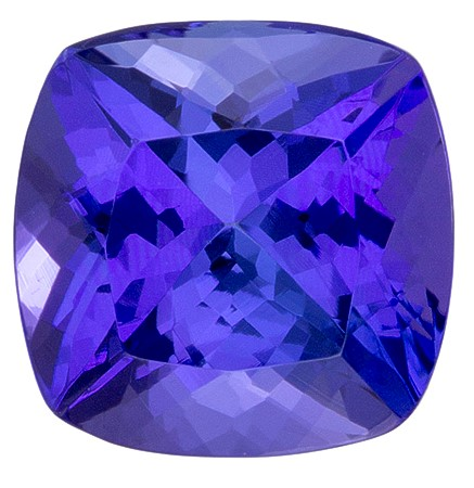 Authentic Vivid Tanzanite Gemstone, Cushion Cut, 2.05 carats, 7.4 x 7.3 mm , AfricaGems Certified - A Great Buy