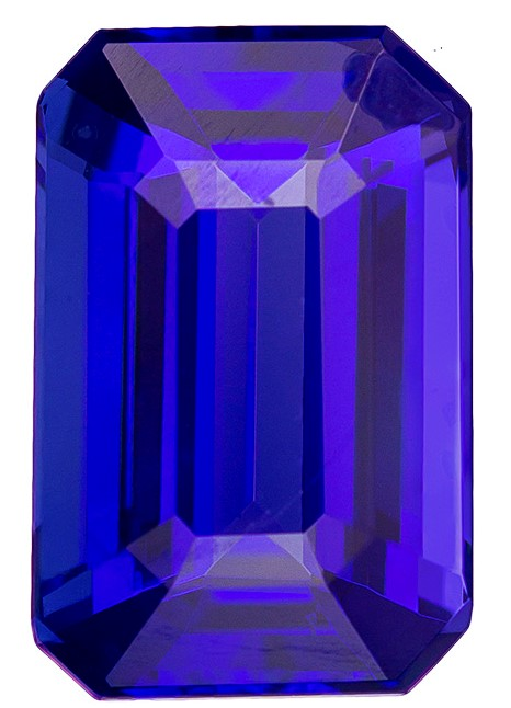 Authentic Vivid Tanzanite Gemstone, Emerald Cut, 5.36 carats, 12.9 x 8.5 mm , AfricaGems Certified - A Great Buy