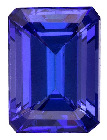 Authentic Vivid Tanzanite Gemstone, Emerald Cut, 1.24 carats, 6.9 x 5 mm , AfricaGems Certified - A Low Price