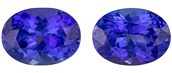 Authentic Vivid Tanzanite Gemstones, Oval Cut, 4.48 carats, Matched Pair 9.4 x 6.8 mm , AfricaGems Certified