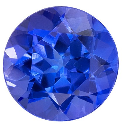 Authentic Vivid Tanzanite Gemstone, Round Cut, 0.95 carats, 6 mm , AfricaGems Certified - A Hard to Find Gem