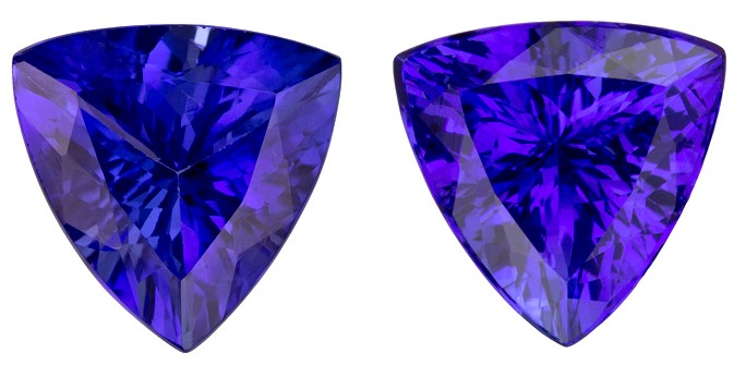 Authentic Vivid Tanzanite Gemstones, Trillion Cut, 5.65 carats, 9.6 mm Matching Pair, AfricaGems Certified - Great for Studs