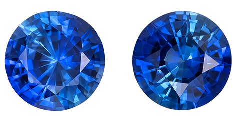 Authentic Blue Sapphire Gemstones, Round Cut, 0.82 carats, 4.4 mm Matching Pair, AfricaGems Certified - A Fine Gem Pair
