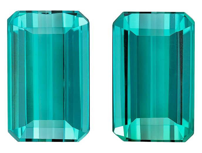 Authentic Blue Tourmaline Gemstones, Emerald Cut, 4.64 carats, 9.5 x 5.9 mm Matching Pair, AfricaGems Certified - A Fine Gem Pair