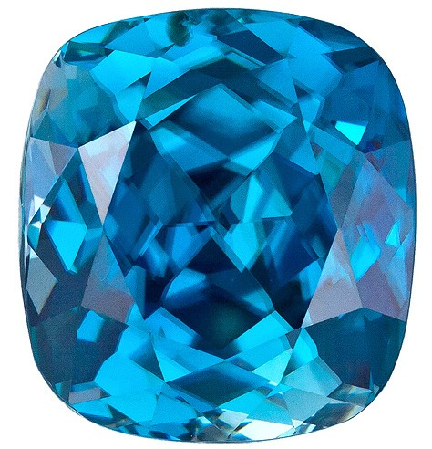 Authentic Blue Zircon Gemstone, Cushion Cut, 10.34 carats, 11.8 x 10.7 mm , AfricaGems Certified - A Great Buy