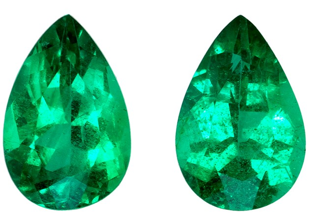 Authentic Vibrant Emerald Gemstones, Pear Cut, 0.74 carats, 6 x 4 mm Matching Pair, AfricaGems Certified - Great for Studs Pair