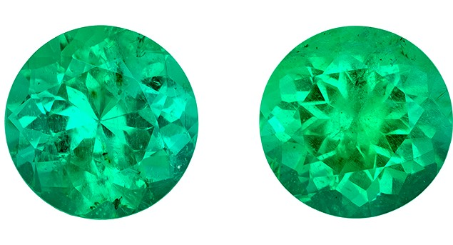 Vibrant Emerald Gemstones, Round Cut, 2.93 carats, 7.5 mm Matching Pair, AfricaGems Certified - Make Incredible Studs