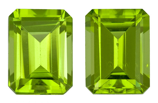 Authentic Vibrant Peridot Gemstone, Emerald Cut, 3.57 carats, 8 x 6 mm , AfricaGems Certified - Unusually Fine