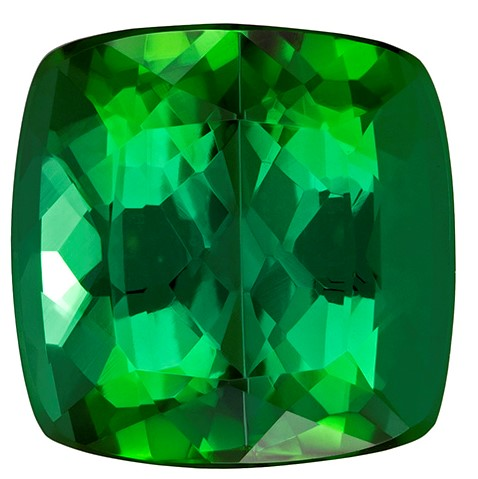 Authentic Green Tourmaline Gemstone, Cushion Cut, 8.1 carats, 11.4 mm , AfricaGems Certified - A Low Price