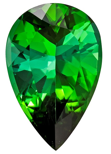 Authentic Green Tourmaline Gemstone, Pear Cut, 4.12 carats, 13.7 x 9.1 mm , AfricaGems Certified - A Hard to Find Gem