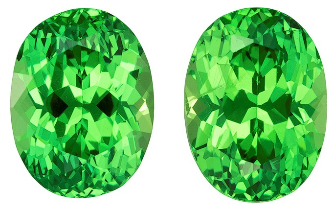 Authentic Vivid Tsavorite Gemstones, Oval Cut, 2.58 carats, 7.2 x 5.4 mm Matching Pair, AfricaGems Certified - Truly Stunning