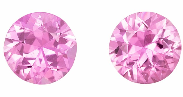 Authentic Pink Sapphire Gemstones, Round Cut, 0.54 carats, 4 mm Matching Pair, AfricaGems Certified - Great for Studs Pair