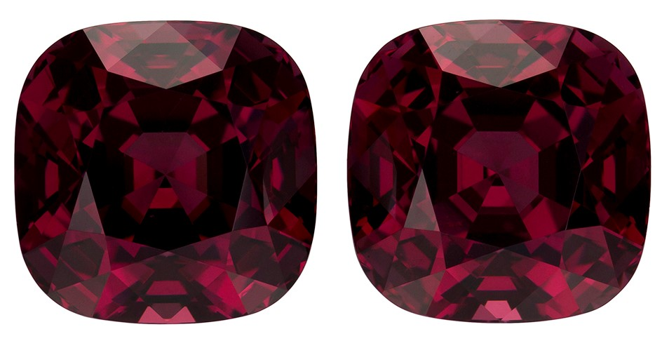 Authentic Rich Rhodolite Gemstones, Cushion Cut, 16.06 carats, 10.5 x 10.5 mm Matching Pair, AfricaGems Certified - Truly Stunning