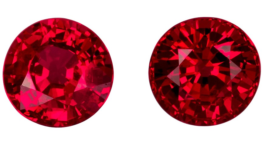 Authentic Fiery Ruby Gemstones, Round Cut, 0.88 carats, 4.3 mm Matching Pair, AfricaGems Certified - A Low Price