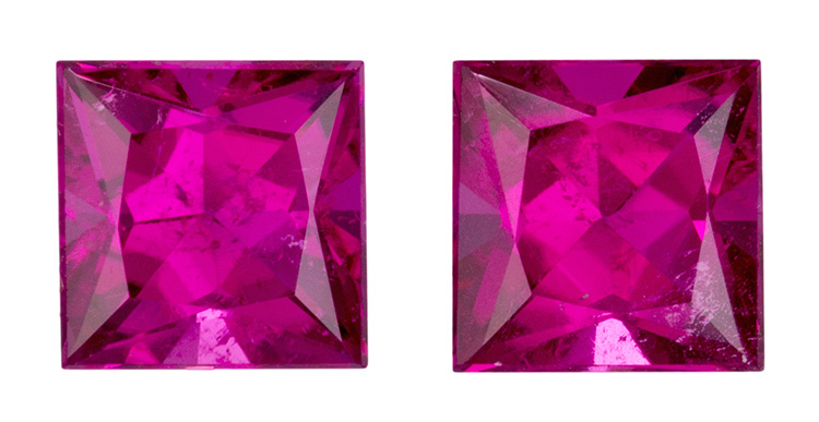 Authentic Red Tourmaline Gemstones Matched Pair, Princess Cut, 2.00 carats, 5.9 mm , AfricaGems Certified - Studs!