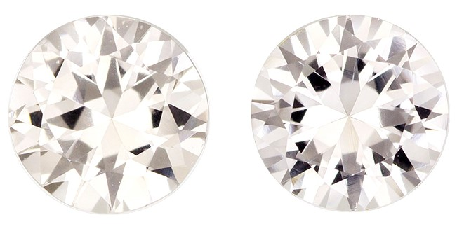 Authentic White Sapphire Gemstones, Round Cut, 1.91 carats, 6 mm Matching Pair, AfricaGems Certified - A Super Gem