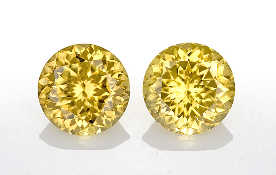 Authentic Yellow Zircon Gemstones, Round Cut, 5.53 carats, 8 mm Matching Pair, AfricaGems Certified - Great for Studs