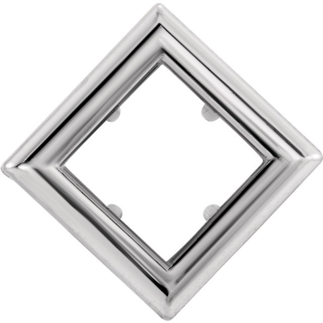 Back-Set Bezel Earring Mounting For Square Shape Centergems Sized 4.00 mm to 6.00 mm - Customize Metal or Gem Type
