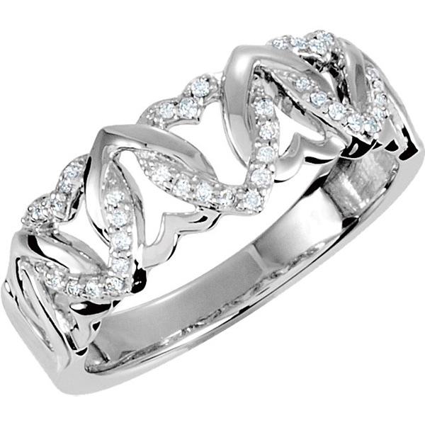 Band Style Interlocking Heart Sterling Silver 1/8 Carat TW Diamond Ring Size 7