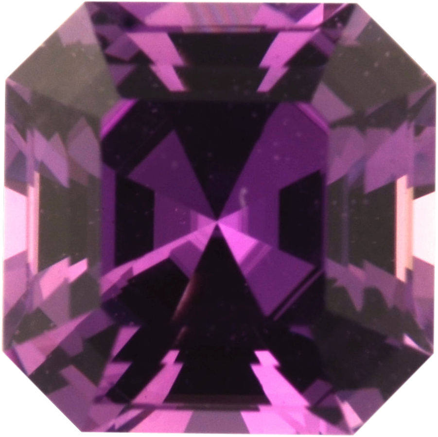 Bargain Priced Sapphire Loose Gem in Asscher Cut, Vibrant Pink Purple, 5.98 x 5.96  mm, 1.11 Carats