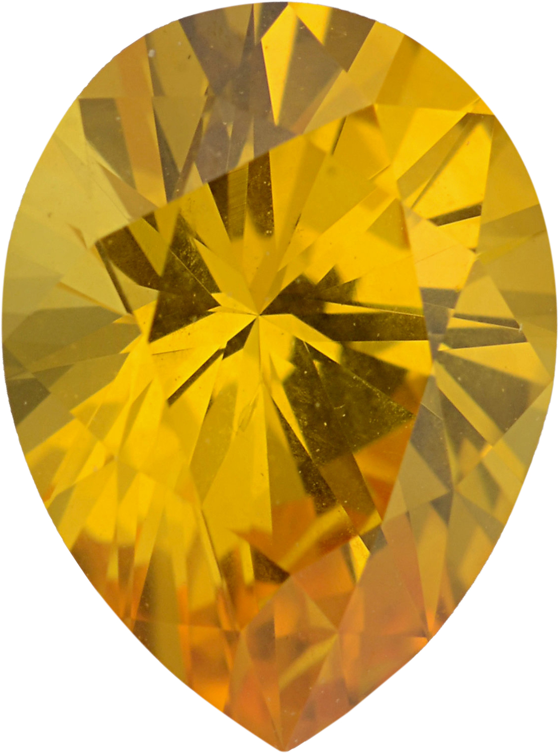 Bargain Priced Sapphire Loose Gem in Pear Cut, Light Orangy Yellow, 7.97 x 5.96  mm, 1.26 Carats