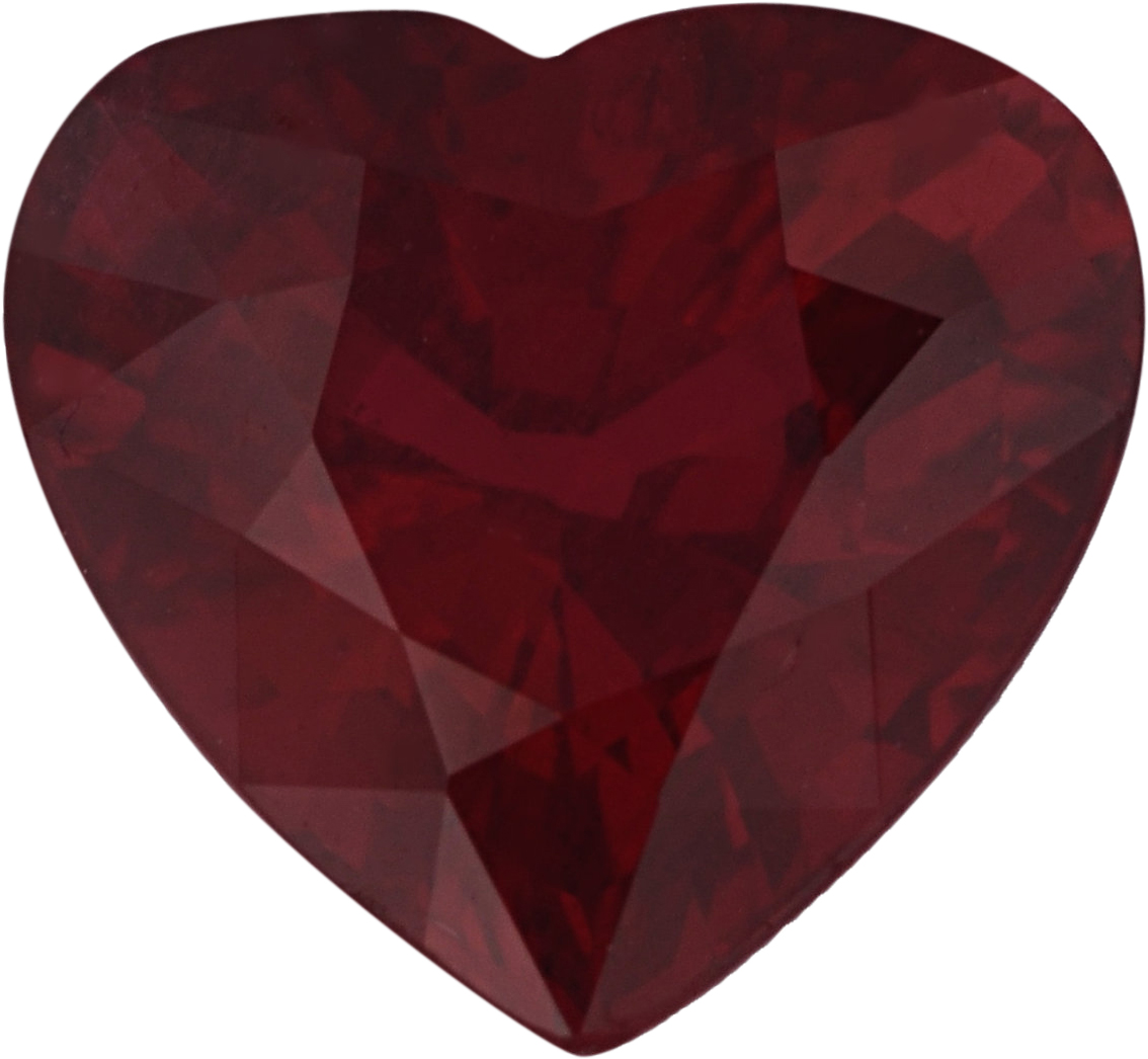 Bargain Priced  Untreated Ruby Loose Gem in Heart Cut, Vibrant Purple Red, 6.19 x 6.52  mm, 1.21 Carats