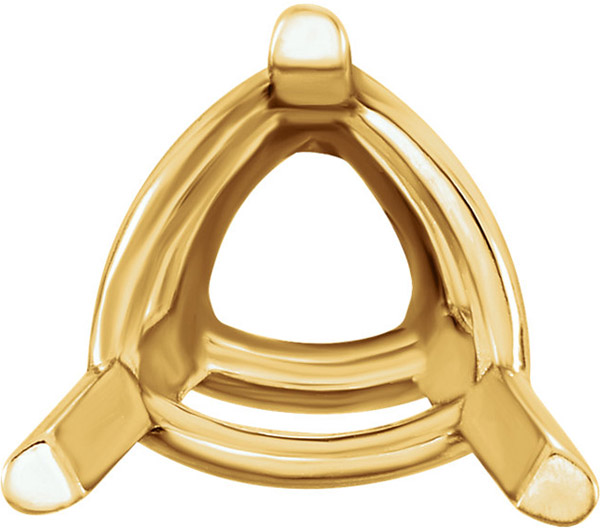 Basic 14kt Gold 3-Prong Lightweight Wire Setting for Trillion Shape Gemstone Sized 3.00 mm to 9.00 mm