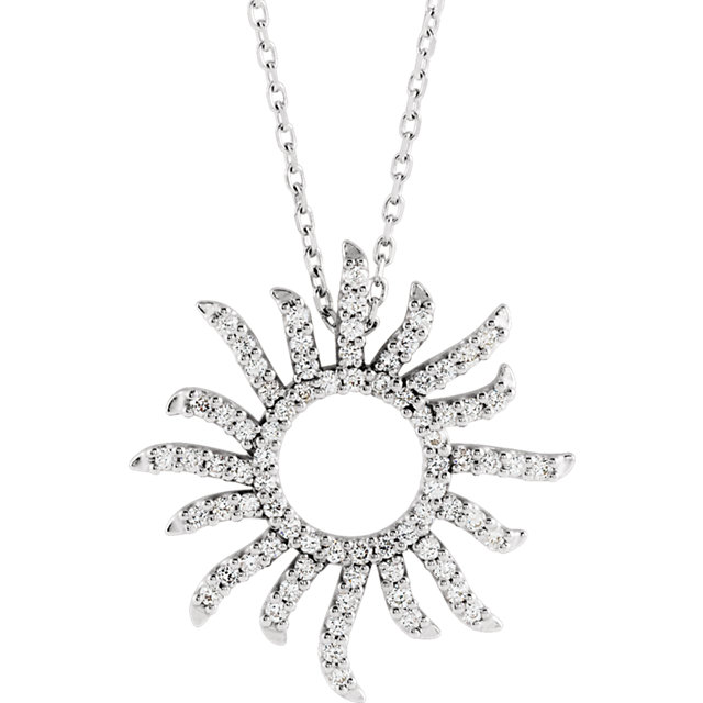 14 Karat White Gold 0.40 Carat Diamond Beaming Sun 16