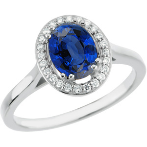 Beautiful 1.05ct 7x5mm Royal Blue Sapphire GEM Set in Quality Diamond & White Gold Ring for SALE