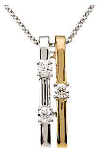 Beautiful 1/10ct Two Tone White and Yellow Gold Diamond Pendant With Three Round Diamonds  - FREE Chain