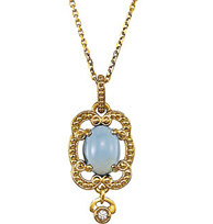Beautiful 1.19ct 8x6mm Lavender Chalcedony and Diamond Accented Fashion Pendant With Granulated Design - Metal Type Options - FREE Chain With Pendant