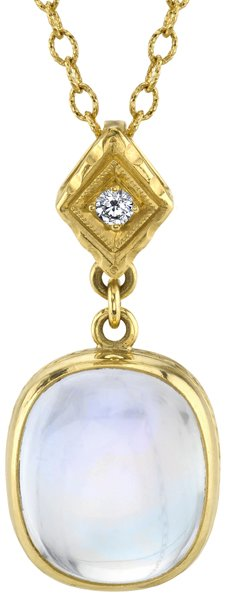 Beautiful 13.15ct Rainbow Moonstone 18kt Yellow Gold Dangle Pendant - Diamond Accent