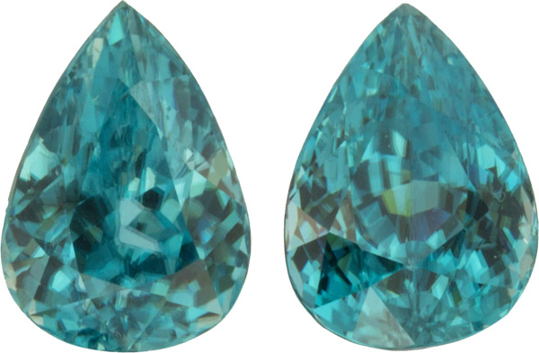Beautiful 14.1 carats, 11.90 x 9.40 mm Pair of Genuine Zircon Gemstones in Pear Cut
