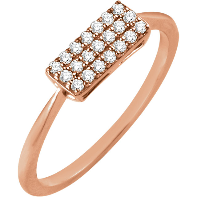 Beautiful 14 Karat Rose Gold 1/6 Carat Total Weight Diamond Rectangle Cluster Ring