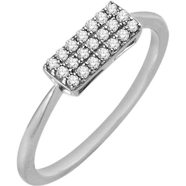 Fine 14 KT White Gold 1/6 Carat TW Diamond Rectangle Cluster Ring
